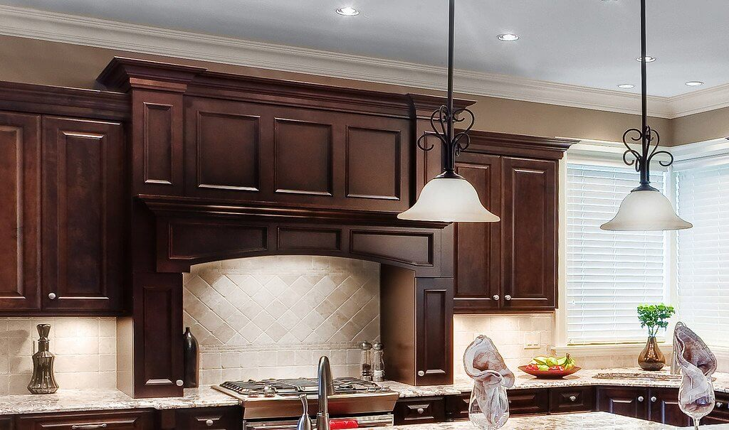 brown custom cabinets