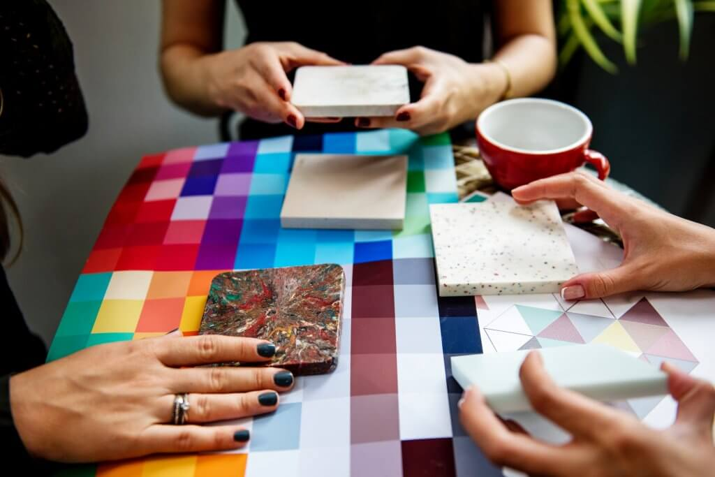 color swatches with countertop samples