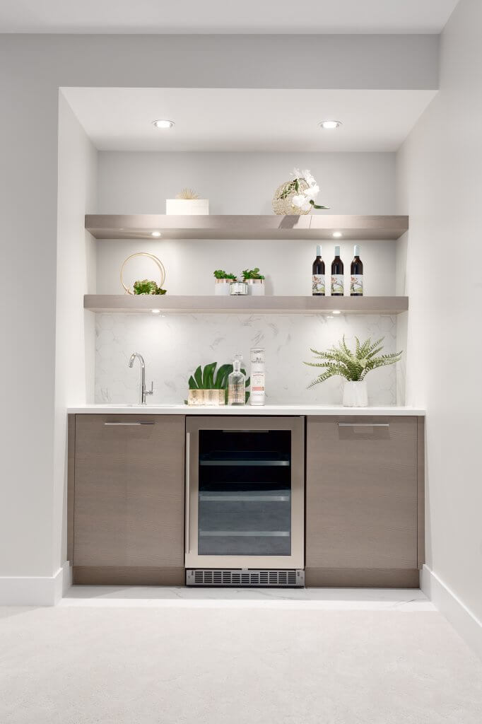 Built in Bar with Sink and Wine Cooler, Custom Shelves