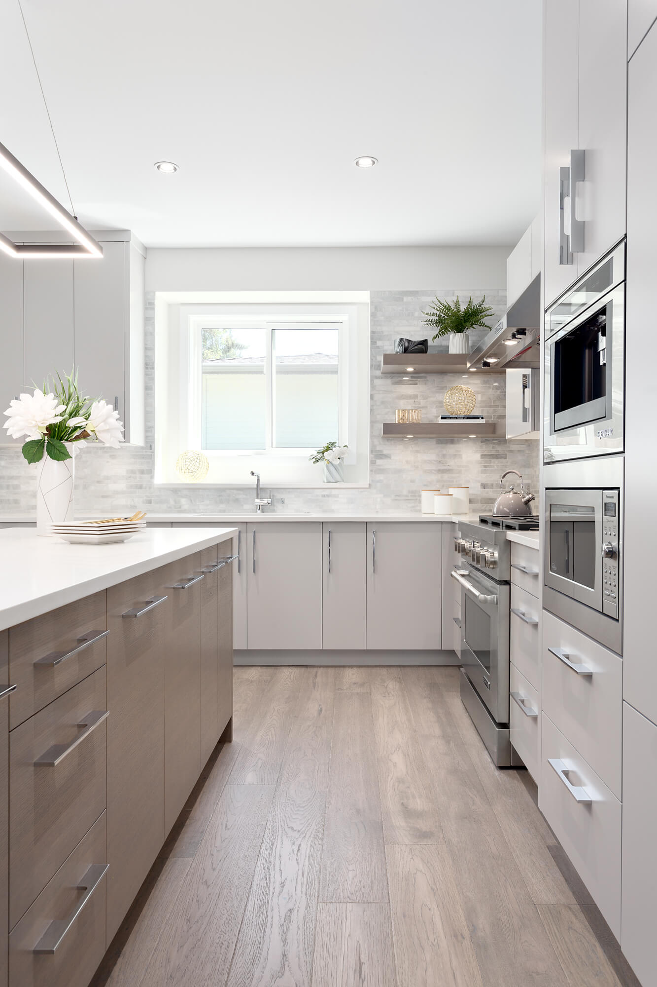 Custom Cabinetry with Built in Microwave
