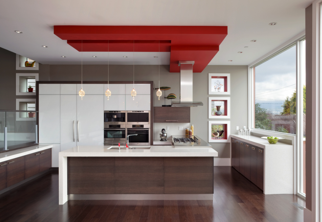 Red and White Kitchen Cabinet | Kitchen Art Design